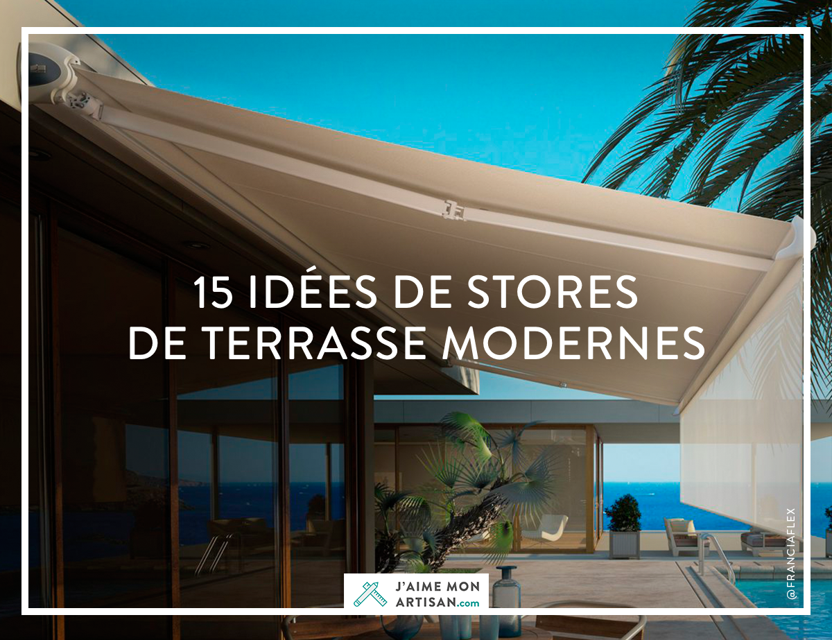 15 id es de stores de terrasse modernes. Black Bedroom Furniture Sets. Home Design Ideas