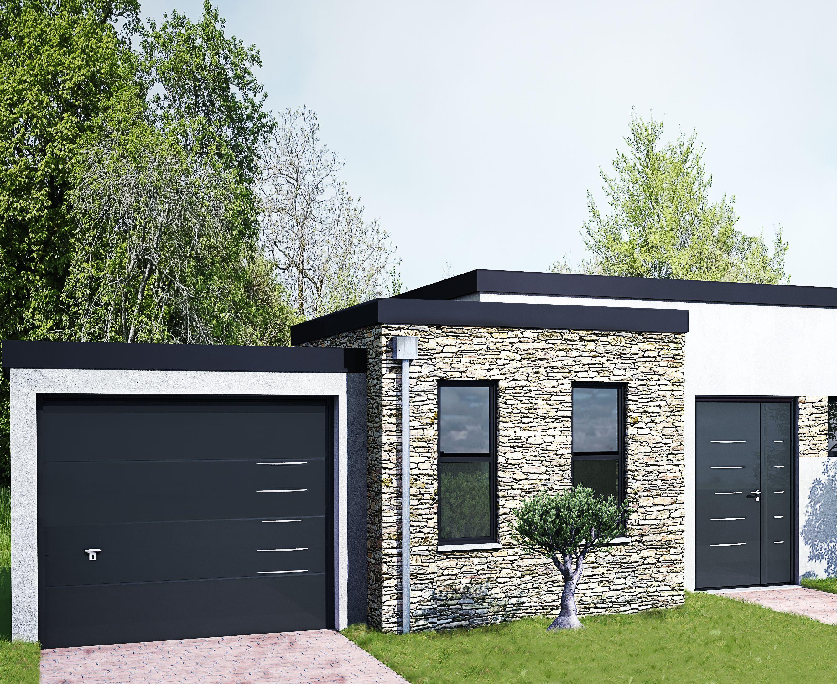 """Porte de garage sectionnelle """"ISO 45"""" - Panneau Design Alinéa -"""