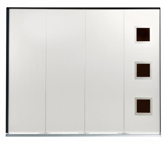 Porte de garage latérale - Panneau sans rainure Blanc Pur RAL 9010 - Option Hublot carré Inox