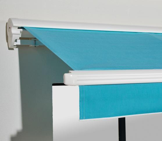 4_Store banne cassette FRANCIAFLEX modèle Figari Auvent - Armature RAL 9010 Blanc - Toile DICKSON Orchestra 6688 Turquoise.jpg