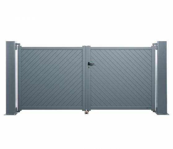 1_Portail battant - La Toulousaine - gamme Intimité - modèle Sicile - Coloris GRIS RAL 7031.jpg