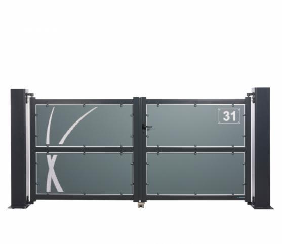 1_Portail battant - La Toulousaine - gamme Intuition - modèle Aloé - Coloris 7016 + 7031.jpg