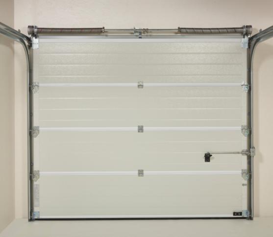 13_Vue intérieure - Système à ressorts et équilibrage par torsion - Panneau intérieur de porte Coloris RAL 9002 Blanc Gris - Porte de garage sectionnelle ISO 45 Novoferm.jpg
