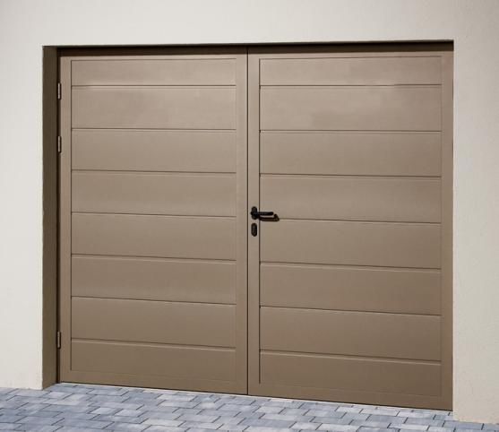 5_Porte de garage battante Duoport nervure large - Coloris S2500 gris sablé.jpg