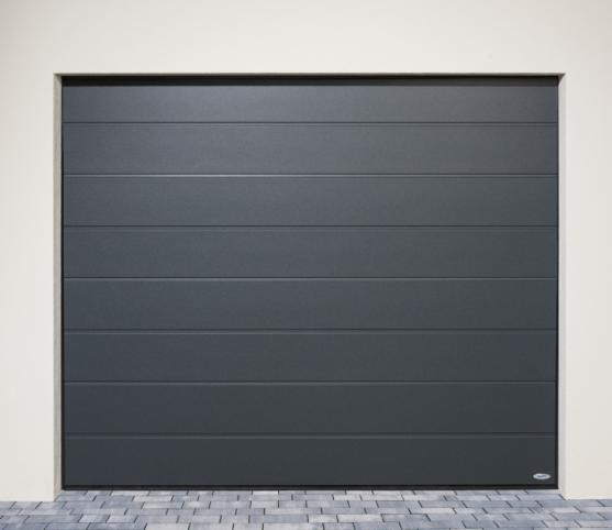 7_Porte de garage sectionnelle ISO45 Novoferm - Vue de face - finition lisse - Coloris satin dark grey.jpg