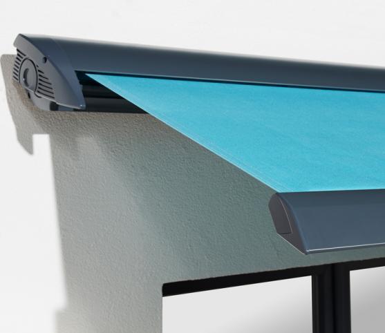 12_Détail du Store Coffre ROCHE Habitat modèle Chrysalis - Armature RAL 7016 Anthracite - Toile Dickson Orchestra 6688 Turquoise.jpg