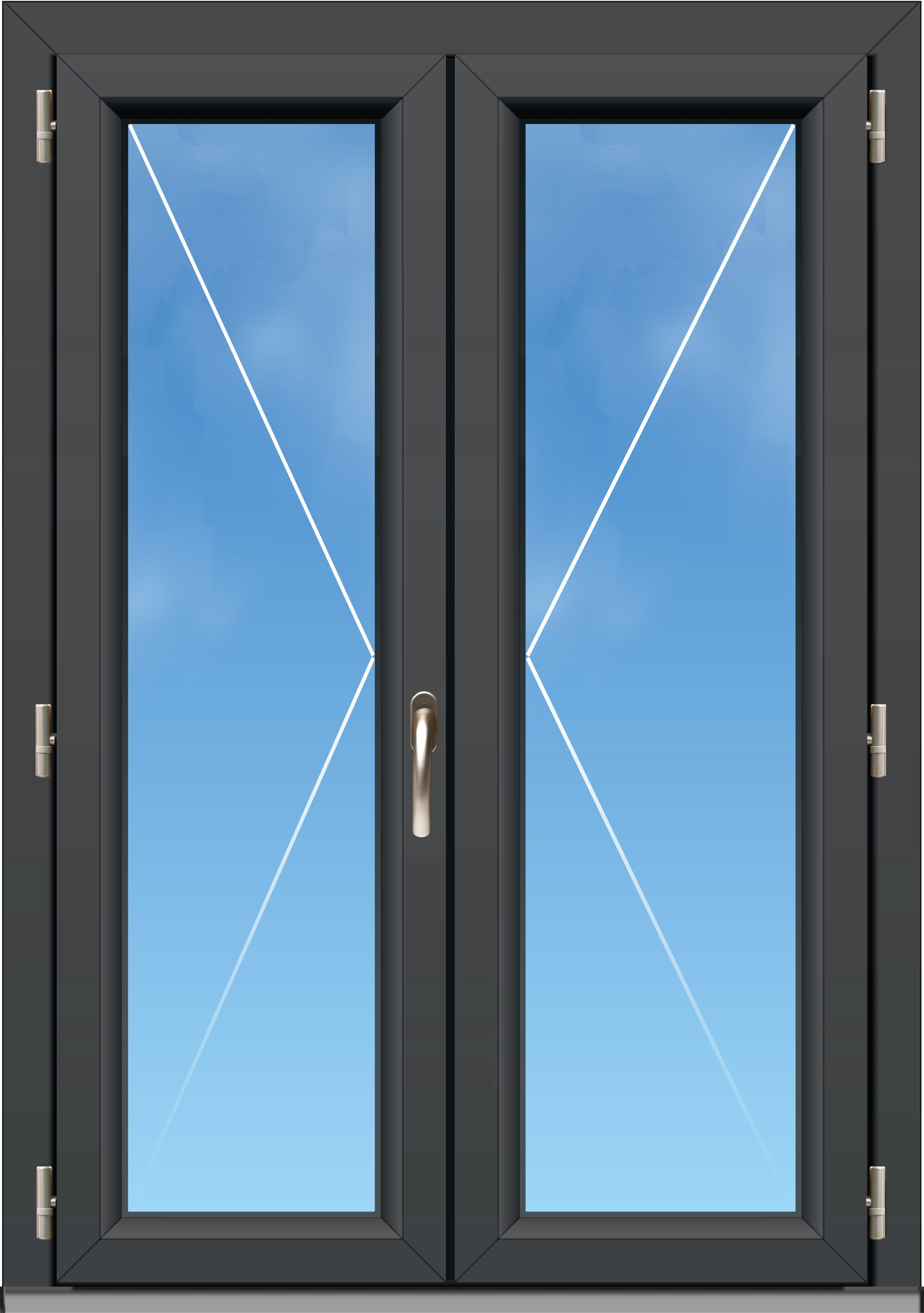 Porte fen tre pvc a70 l gance 2 vantaux for Fenetre a vantaux