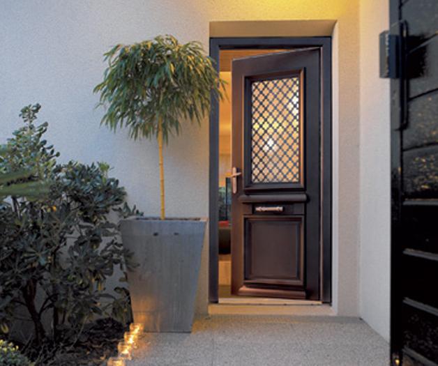 Porte d 39 entr e mixte alu bois ath na mixte - Prix porte d entree athena ...